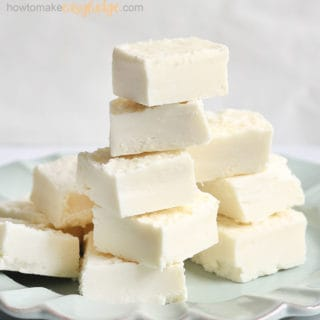 2-ingredient white chocolate fudge made with white chocolate chips and a can of store-bought frosting
