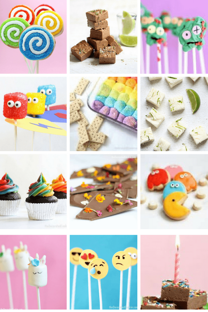 collage of fun food crafts by theDecoratedCookie.com
