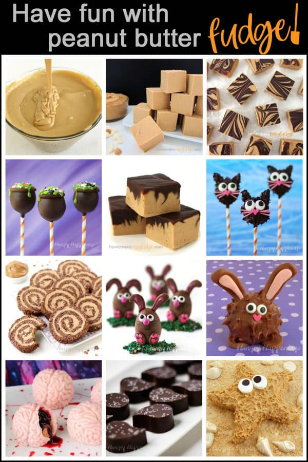 a collage of images of homemade peanut butter fudge in squares and made into cauldron and cat pops, rice krispies pinwheels, Easter bunnies, candy brains, pretty artisan chocolates, and fudge starfish.