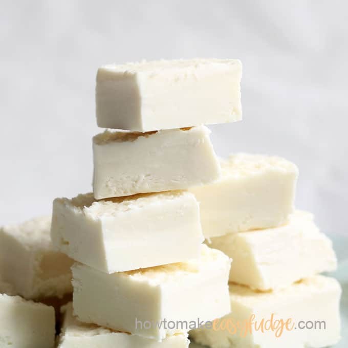 close-up of easy 2-ingredient white chocolate vanilla fudge