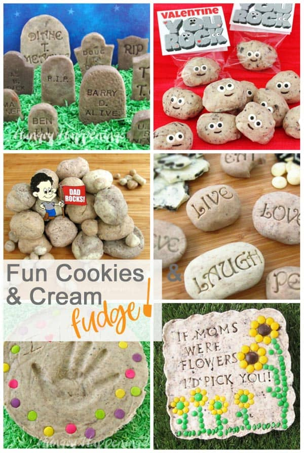 Collage of images of Fun Cookies and Cream Fudge Food Crafts including Fudge Tombstones, You Rock Fudge, Sweet Serenity Stones, and Edible Garden Stones