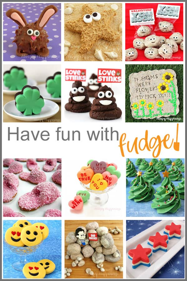 homemade fudge recipes turned into cute treats for holidays including fudge bunnies, starfish, rocks, shamrocks, poop emoji, slippers, conversation hearts, Christmas trees, and more