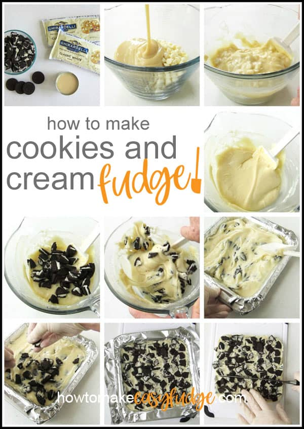 collage of images showing how to make cookies and cream fudge by melting white chocolate with sweetened condensed milk and stirring in OREO cookies