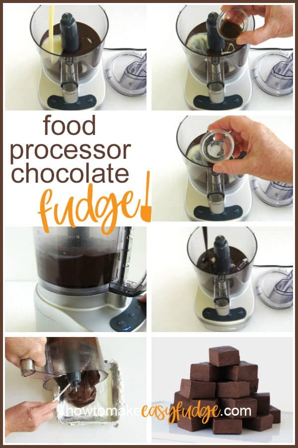 collage of images showing how to make chocolate fudge in the food processor