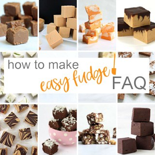 How to make easy fudge FAQ collage of fudge images.