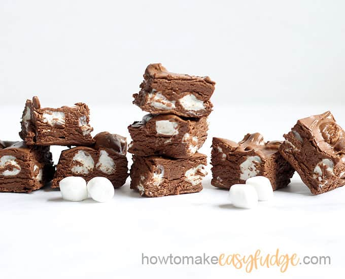 stack of chocolate marshmallow fudge with white background