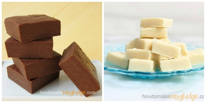 collage of images showing milk chocolate fudge stacked up and white chocolate fudge piles on a blue plate