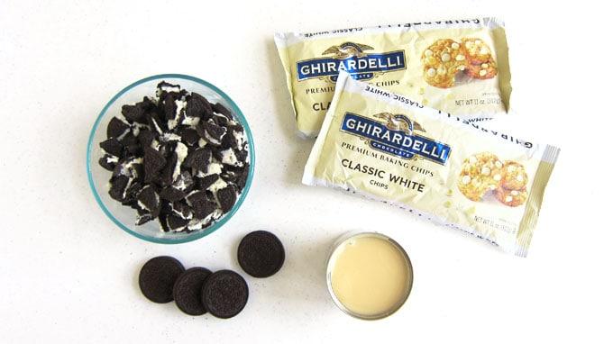 Oreo Cookies, Ghirardelli White Chocolate Chips, and sweetened condensed milk