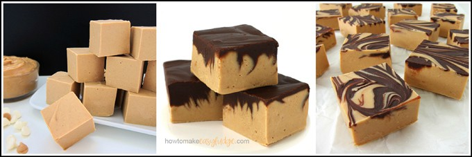 Collage showing images of peanut butter fudge, chocolate peanut butter fudge, and tiger butter fudge.