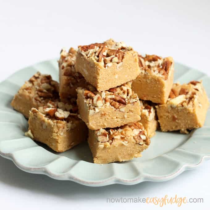 blue plate of pumpkin fudge