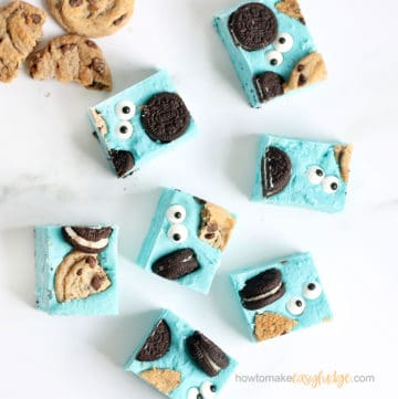 Cookie Monster fudge for a Sesame Street party