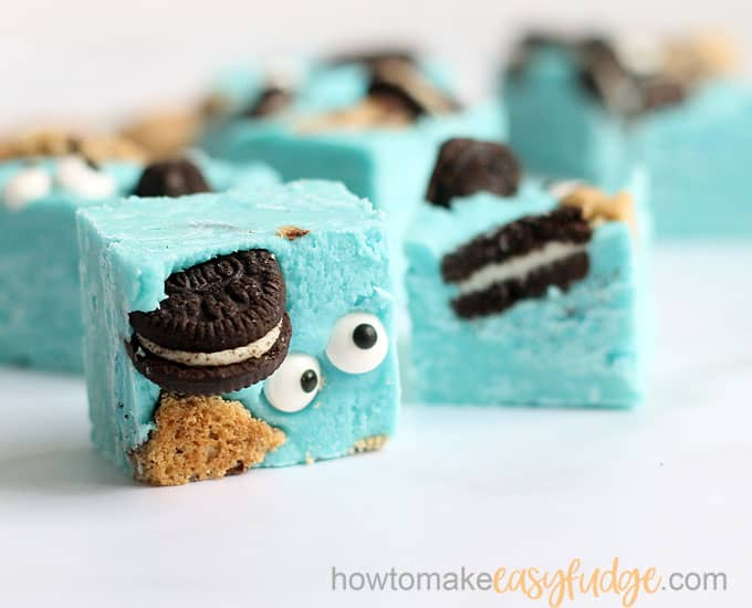 close-up image of blue cookie monster fudge