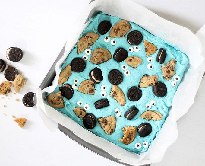 overhead image of cookie monster fudge in baking pan