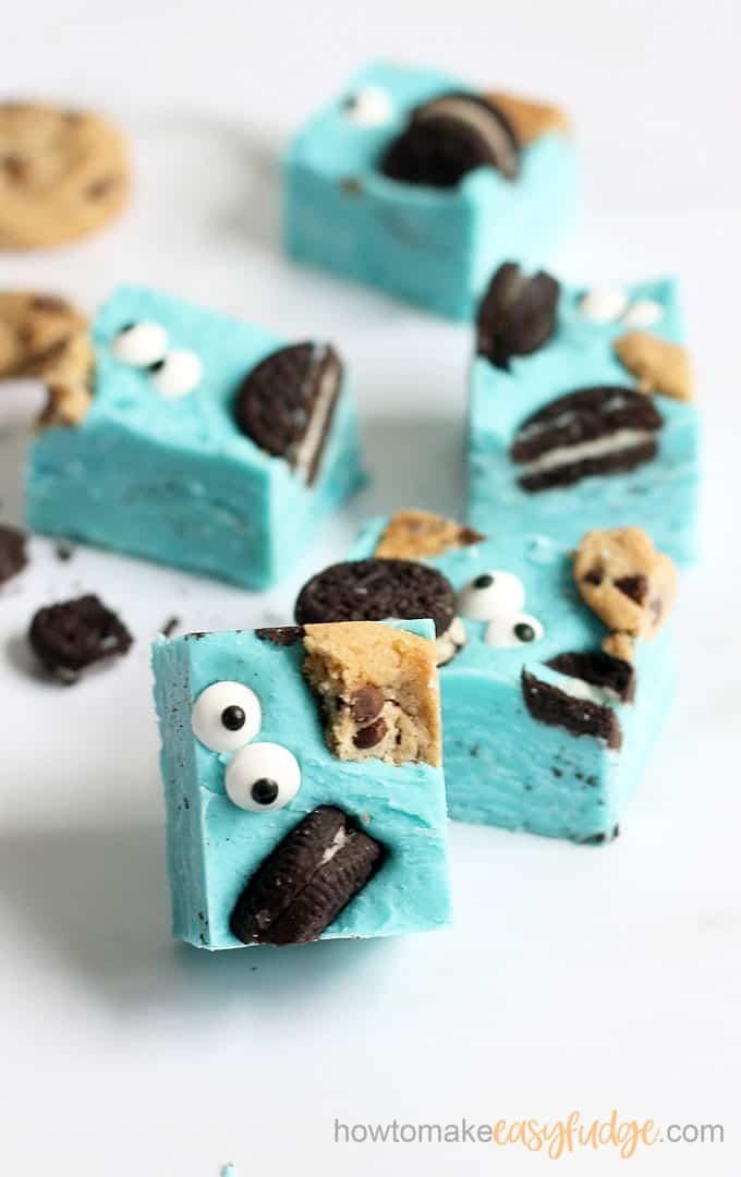 vertical image of cookie monster fudge