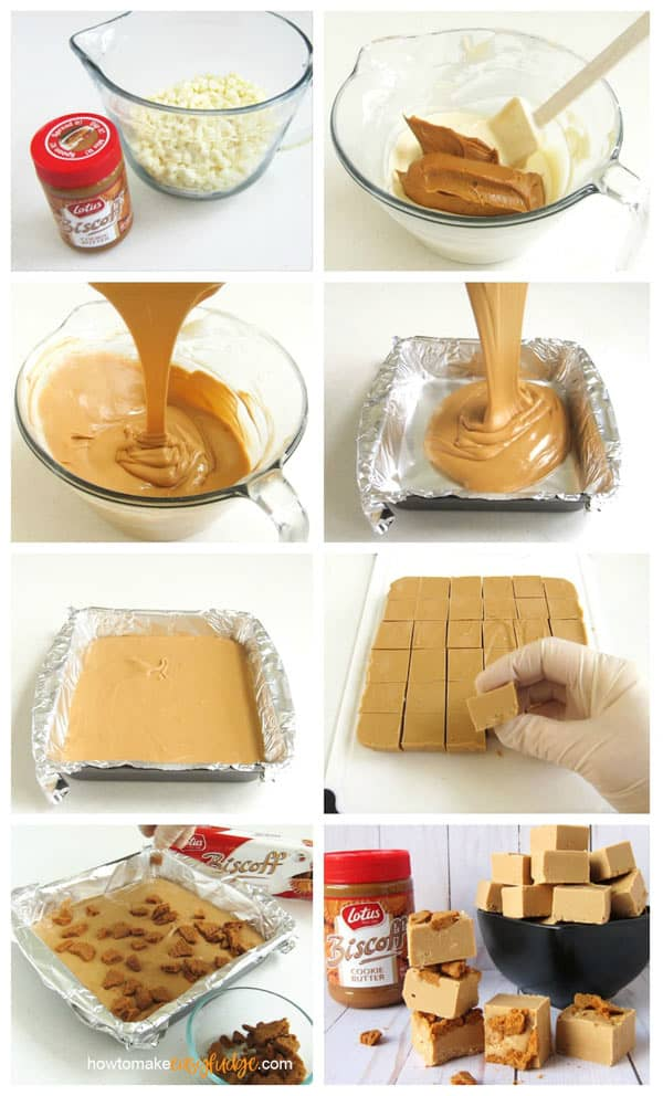 collage of images showing how to make the biscoff fudge