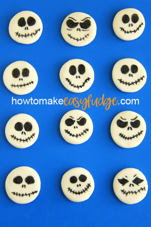 a variety of 12 different Jack Skellington Fudge designs