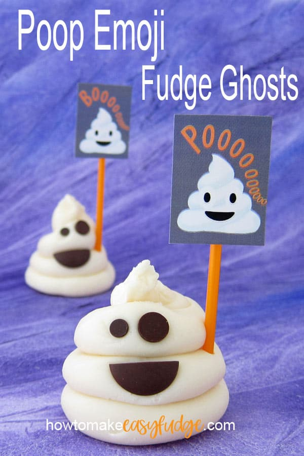 "two white chocolate fudge poop emoji fudge ghosts are holding printable signs adorned with white poop emoji and the words, ""poooooo"" or ""boooo"""