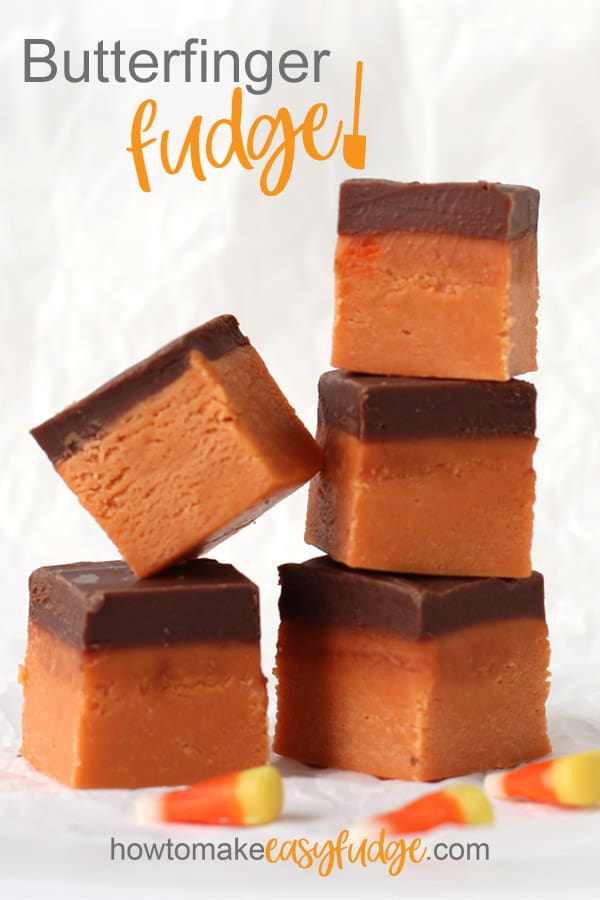 Five squares of butterfingre fudge stacked up in rows.