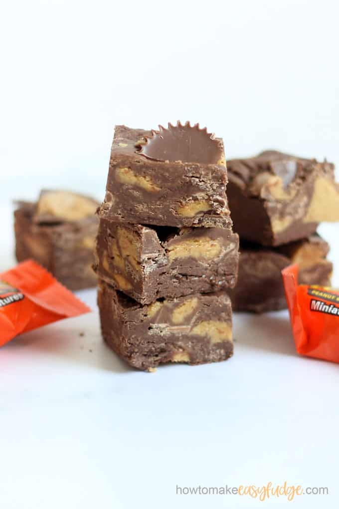 Stacked pieces of Reese's fudge