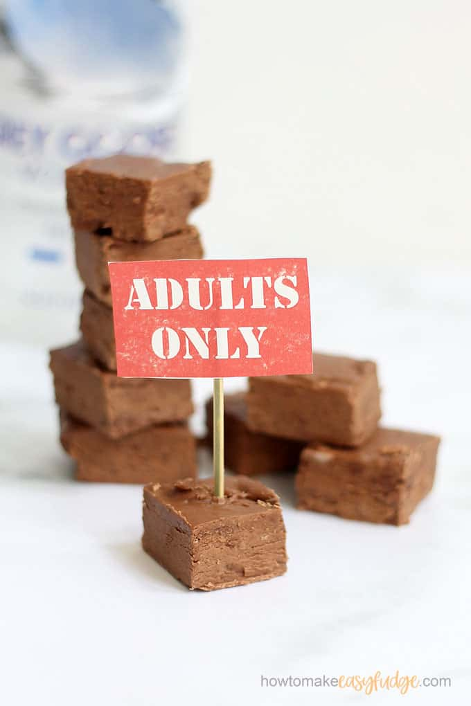 stacked vodka fudge recipe with printable sign
