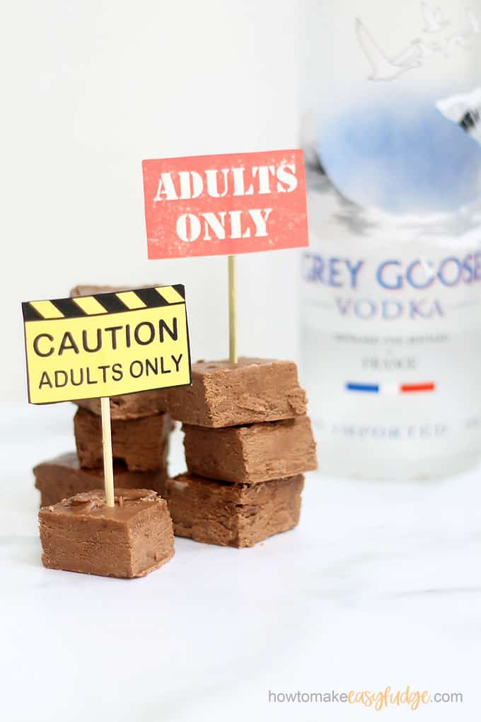 stacked vodka fudge recipe with free printables