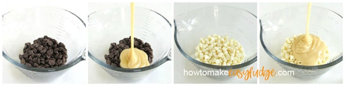 collage of images showing semi-sweet chocolate chips and sweetened condensed milk and white chocolate chips and the sweetened condensed milk
