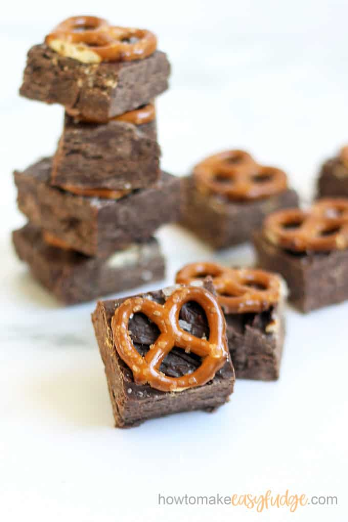 stacked image of chocolate pretzel fudge
