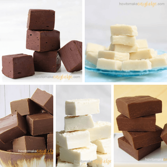 roundup of basic fudge flavors, chocolate and vanilla