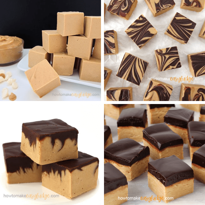 roundup of peanut butter and chocolate flavored fudges