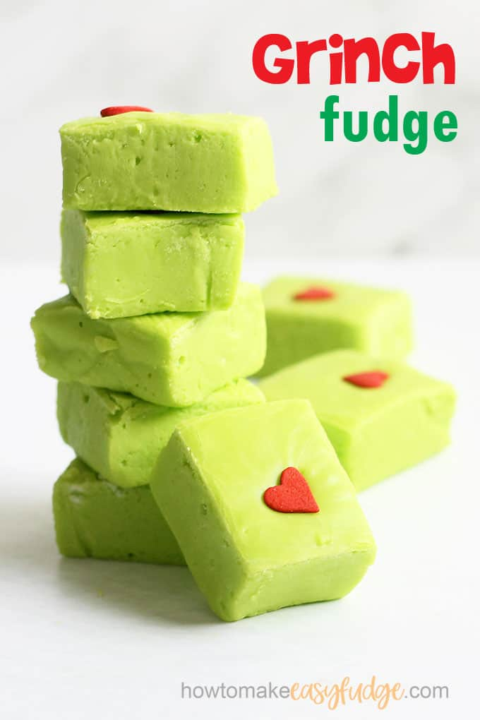 Stacks of The Grinch fudge, a fun food for Christmas.