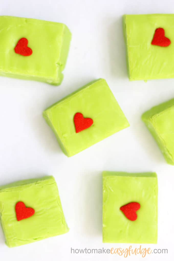 close-up image of Grinch fudge for christmas