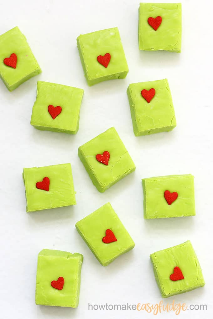 overhead image of Grinch fudge for Christmas