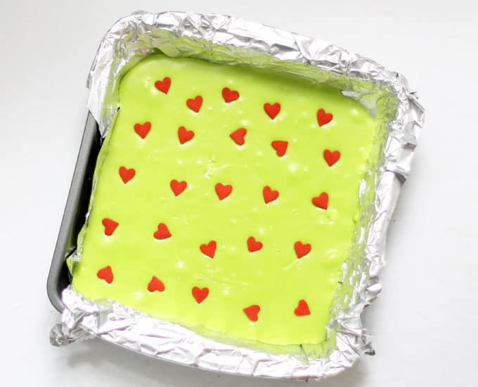 Grinch fudge for Christmas in baking pan