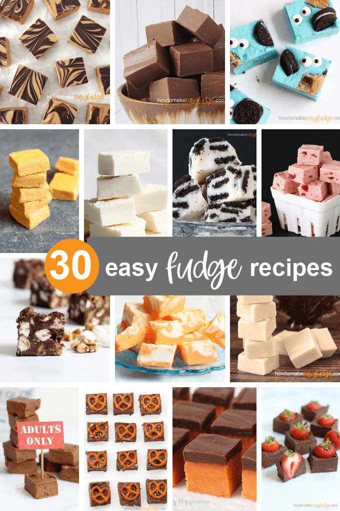 roundup of 30 easy fudge recipes image