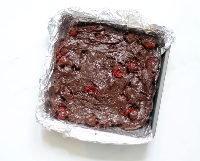Dark chocolate cherry fudge recipe in baking pan