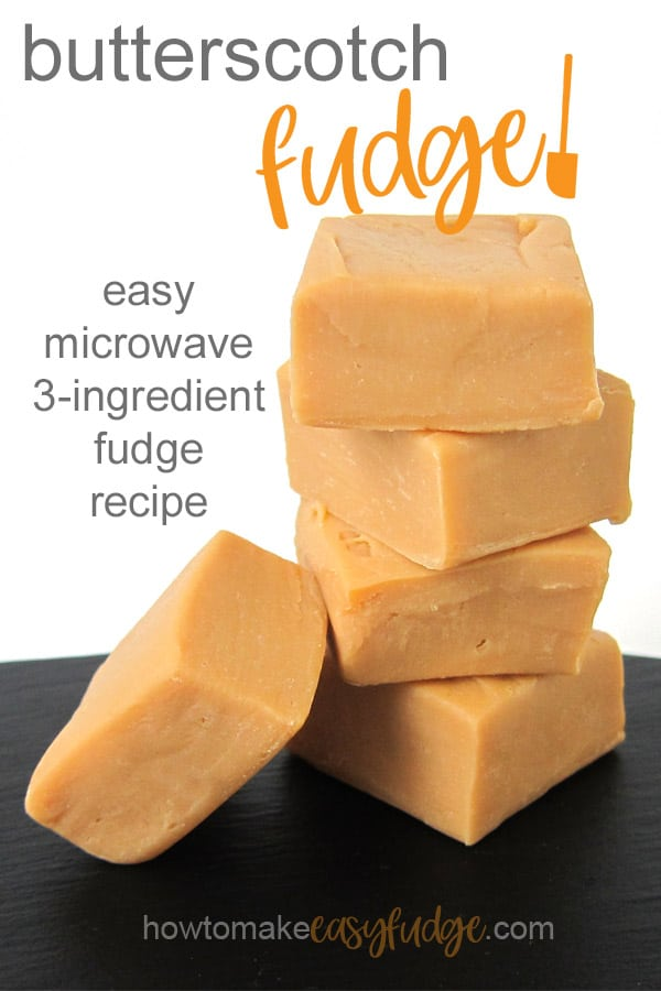 4 pieces of homemade butterscotch fudge are stacked up tall with another piece set up against the stack