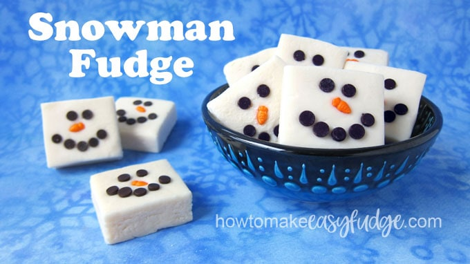 White snowman fudge on a blue snowflake background.