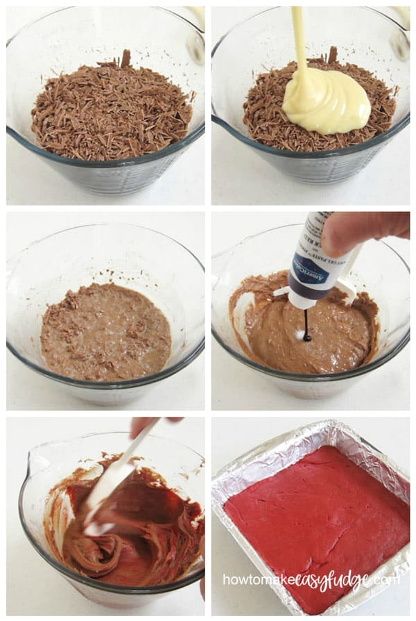 Collage of images showing how to make the red colored milk chocolate fudge layer of the red velvet fudge.