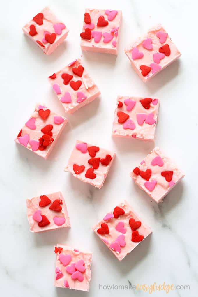 overhead view of pink strawberry frosting fudge for valentine's day