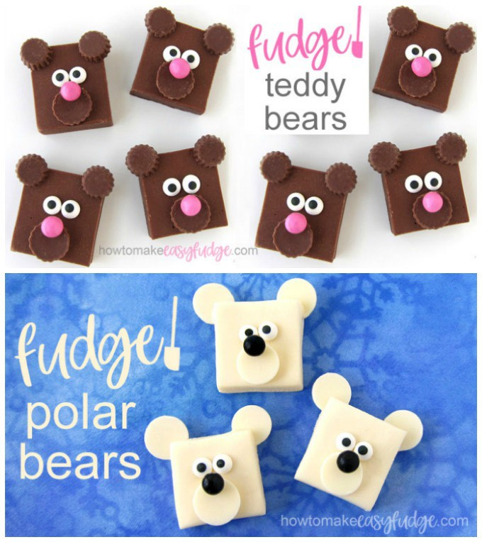 collage with two images: one showing milk chocolate fudge teddy bears and the other showing white chocolate fudge polar bears