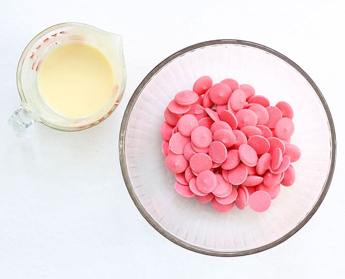 ingredients to make 2-ingredient pink fudge hearts