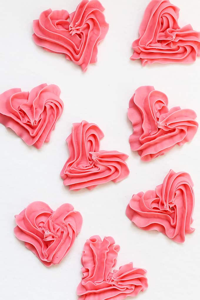 overhead image of Valentine's Day fudge hearts
