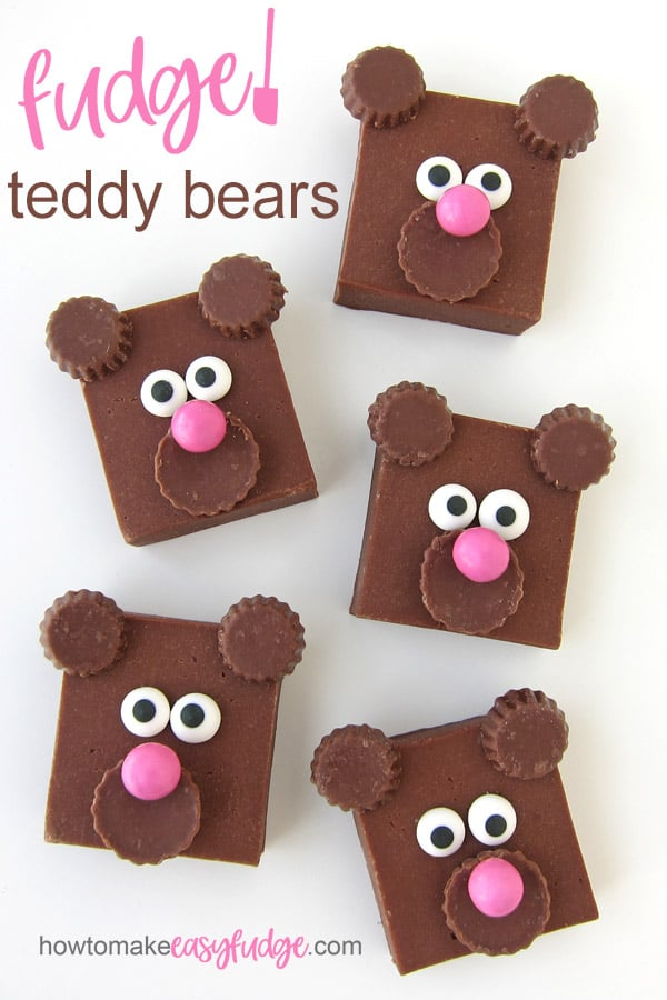 milk chocolate fudge teddy bears decorated with mini peanut butter cups, pink candies, and royal icing eyes