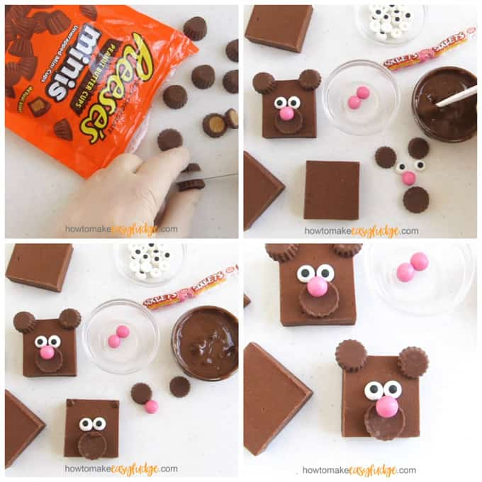 collage of images showing how to decorate squares of milk chocolate fudge to look like teddy bears using Reese's Mini's, pink Sixlets, and candy eyes