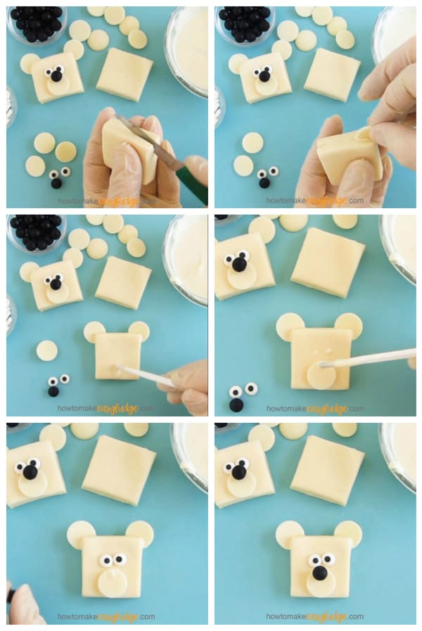 collage of images showing how to decorate white chocolate fudge polar bears using candy melt wafers, black Sixlets and candy eyes