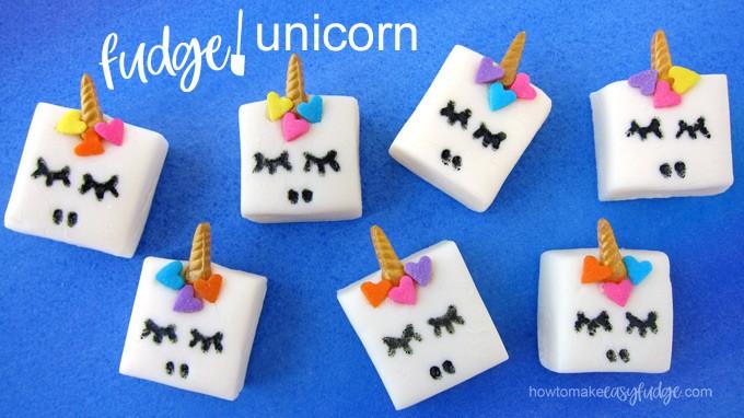 horizontal image of fudge unicorn with text overlay