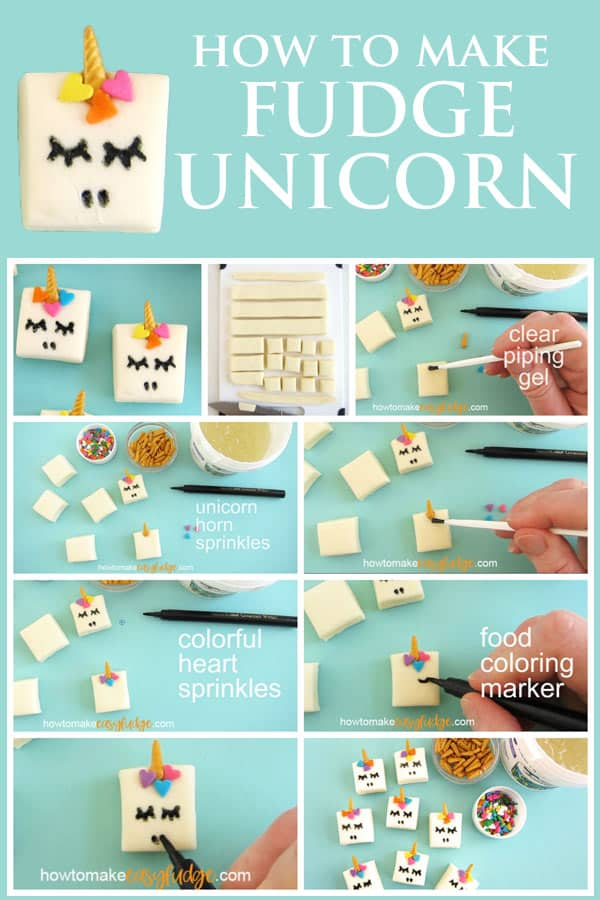 How to make fudge unicorn collage of images showing how to decorate the fudge using clear piping gel, gold unicorn horn sprinkles, pastel heart sprinkles, and a black food coloring marker.