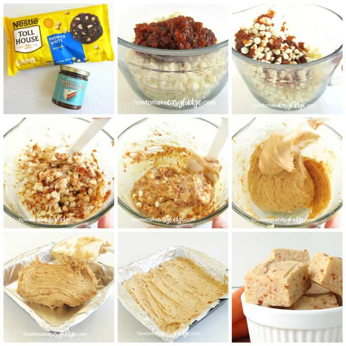 collage of images showing how to melt white chocolate chips and carrot cake spread to make easy carrot cake fudge