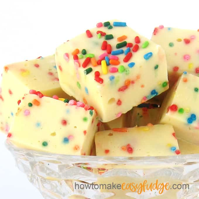 Cake Batter Funfetti Fudge is flavored using cake batter flavoring and is loaded with rainbow sprinkles.