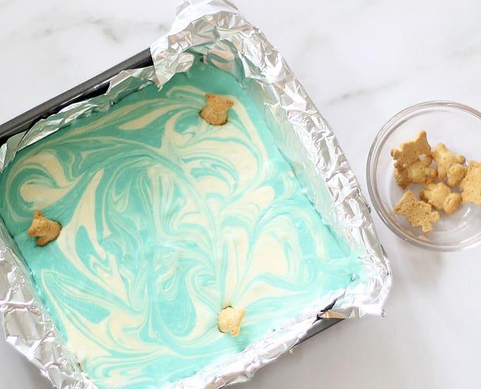 pool party summer fudge in baking pan